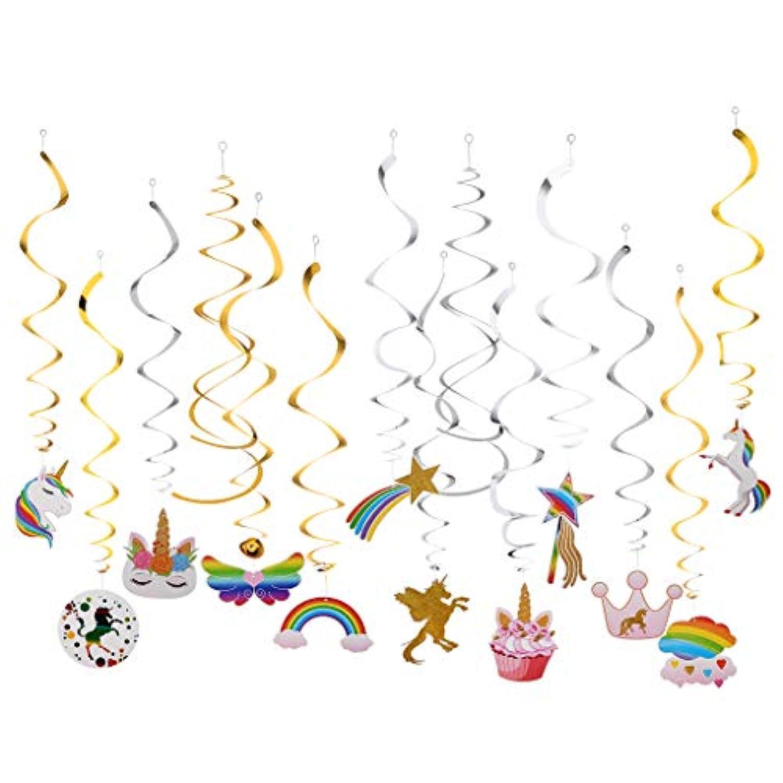 amleso 約20個 ぶら下げ 吊り飾りセット 渦巻き かわいい ユニコーン テーマパーティー
