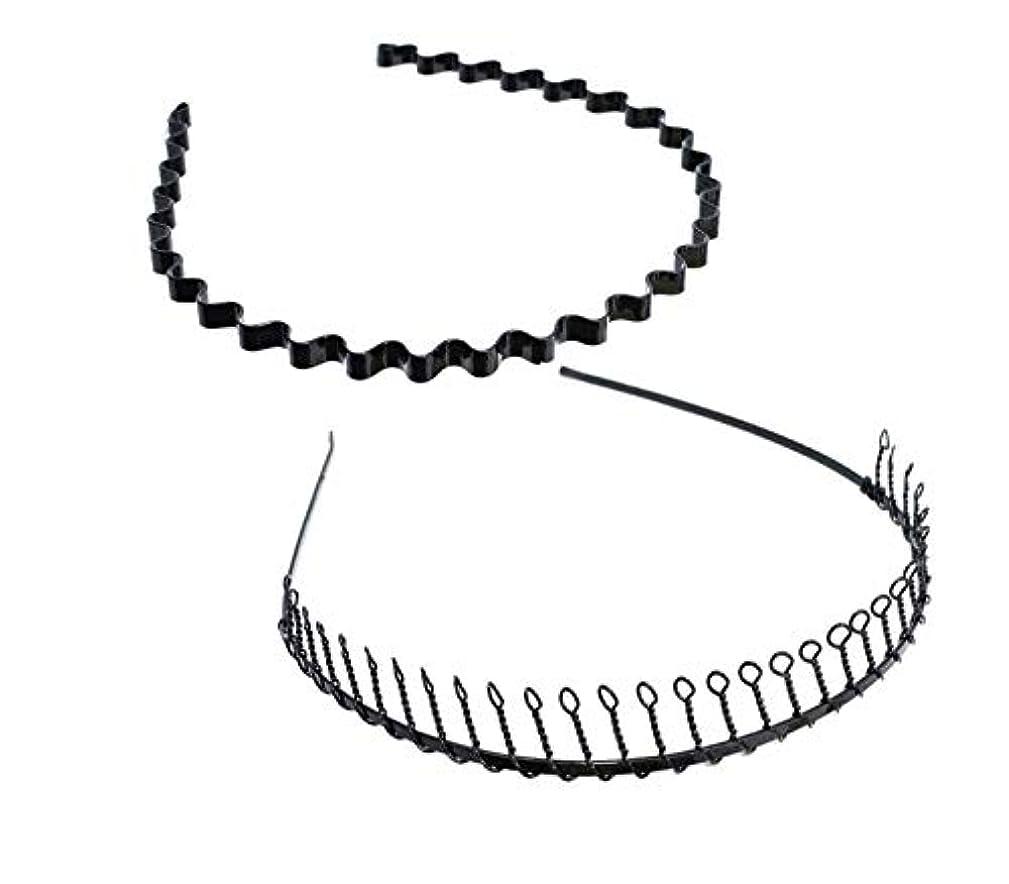 根絶する豪華なワックスSALOCY カチューシャ メンズ コイルヘアバンド カチューシャ スプリング 髪留め 固定 ヘアアクセサリー 波型 くし付き 滑り止め 痛くない 前髪 髪飾り 男女兼用 2本 セット