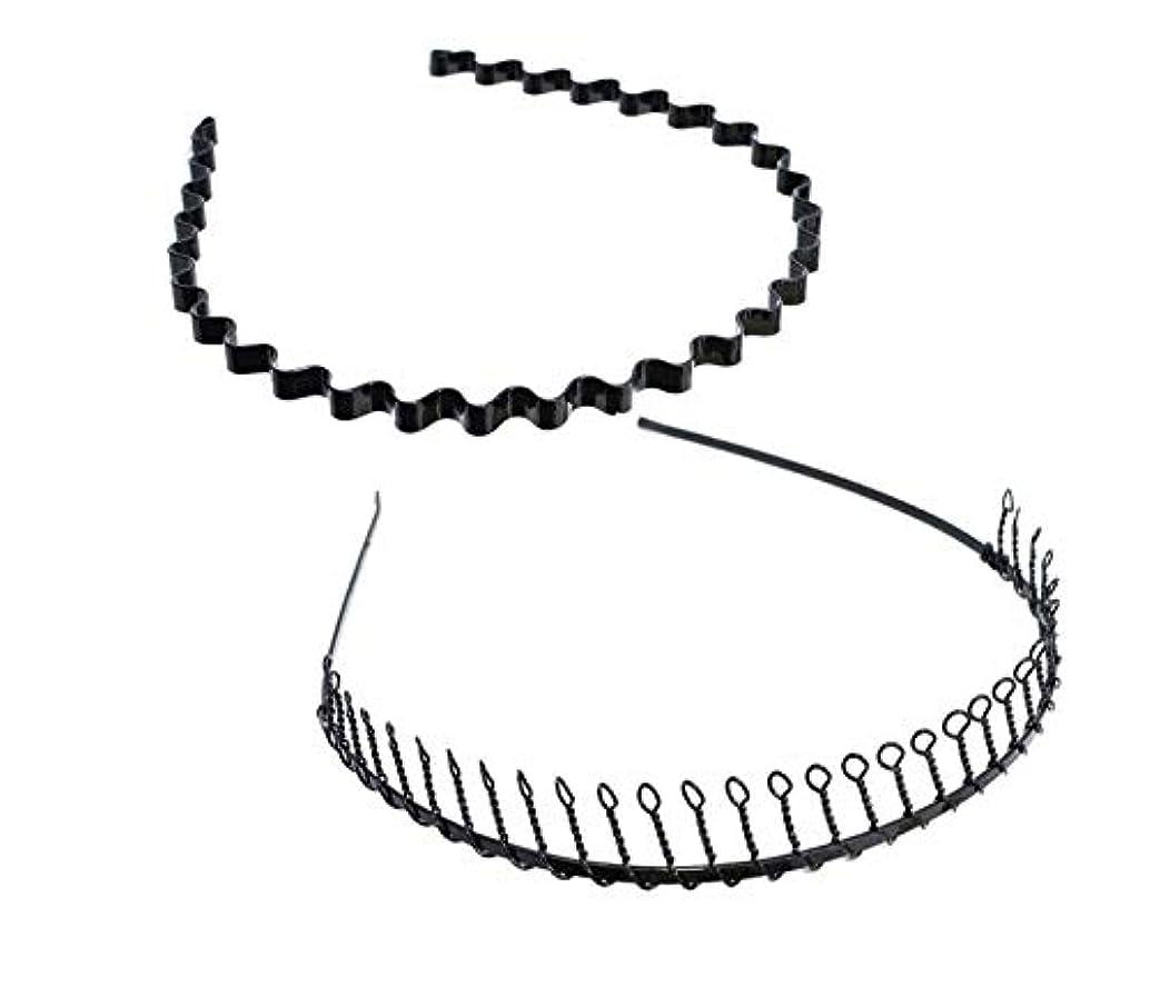 軍影メディアSALOCY カチューシャ メンズ コイルヘアバンド カチューシャ スプリング 髪留め 固定 ヘアアクセサリー 波型 くし付き 滑り止め 痛くない 前髪 髪飾り 男女兼用 2本 セット