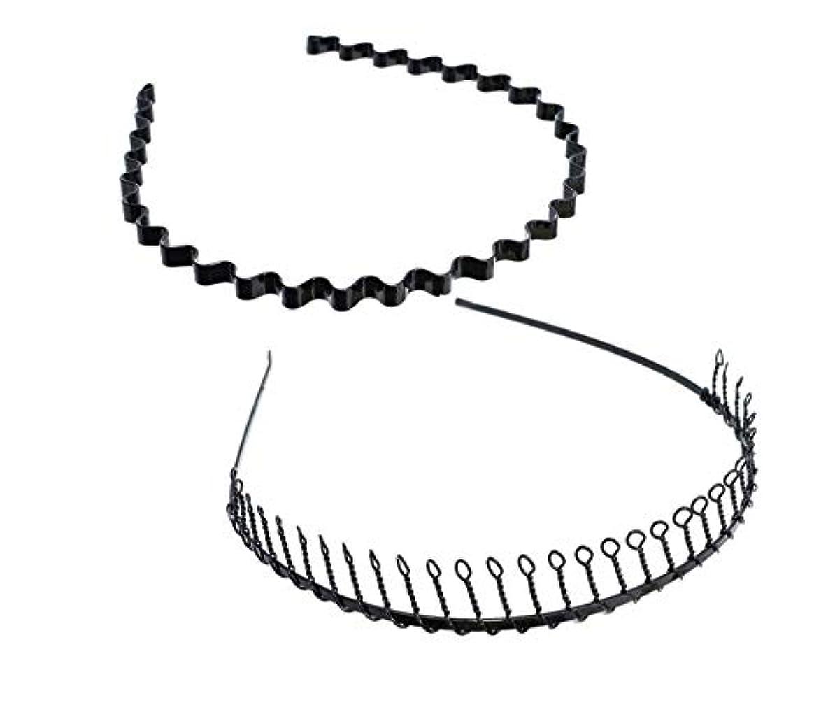 誠実さシンポジウム支払うSALOCY カチューシャ メンズ コイルヘアバンド カチューシャ スプリング 髪留め 固定 ヘアアクセサリー 波型 くし付き 滑り止め 痛くない 前髪 髪飾り 男女兼用 2本 セット