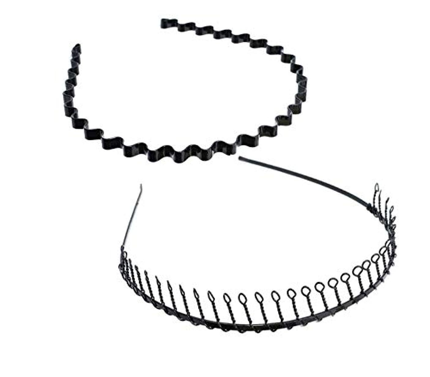 アサート従順なかき混ぜるSALOCY カチューシャ メンズ コイルヘアバンド カチューシャ スプリング 髪留め 固定 ヘアアクセサリー 波型 くし付き 滑り止め 痛くない 前髪 髪飾り 男女兼用 2本 セット