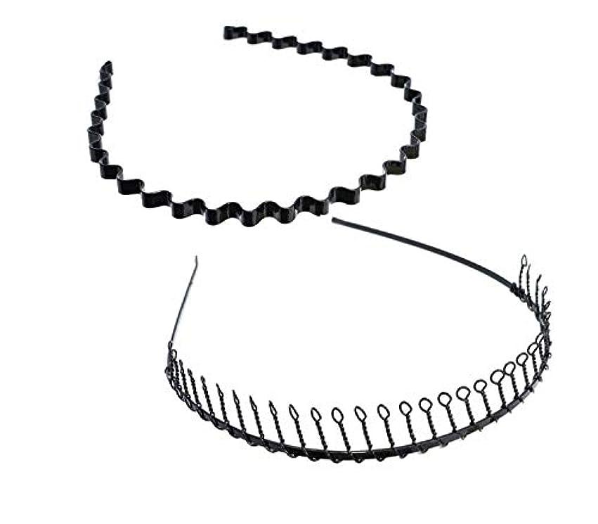 極端な漏れキャリッジSALOCY カチューシャ メンズ コイルヘアバンド カチューシャ スプリング 髪留め 固定 ヘアアクセサリー 波型 くし付き 滑り止め 痛くない 前髪 髪飾り 男女兼用 2本 セット