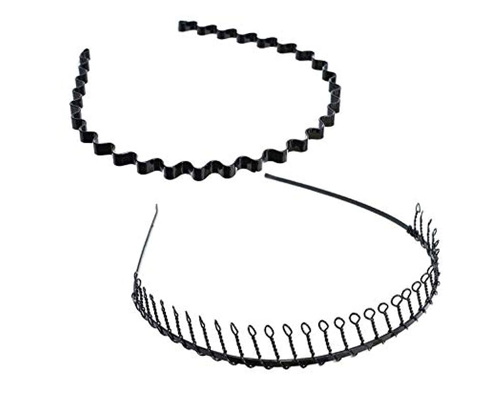 弁護士王女加速するSALOCY カチューシャ メンズ コイルヘアバンド カチューシャ スプリング 髪留め 固定 ヘアアクセサリー 波型 くし付き 滑り止め 痛くない 前髪 髪飾り 男女兼用 2本 セット
