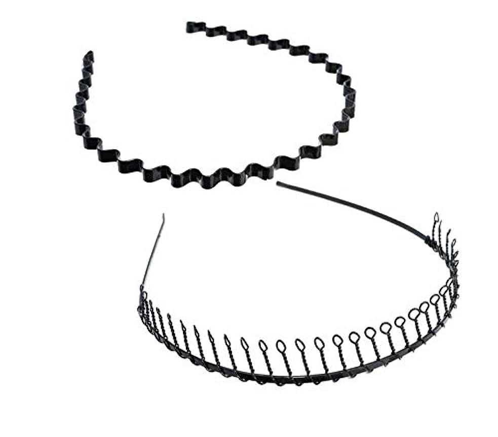 大洪水逸脱靄SALOCY カチューシャ メンズ コイルヘアバンド カチューシャ スプリング 髪留め 固定 ヘアアクセサリー 波型 くし付き 滑り止め 痛くない 前髪 髪飾り 男女兼用 2本 セット