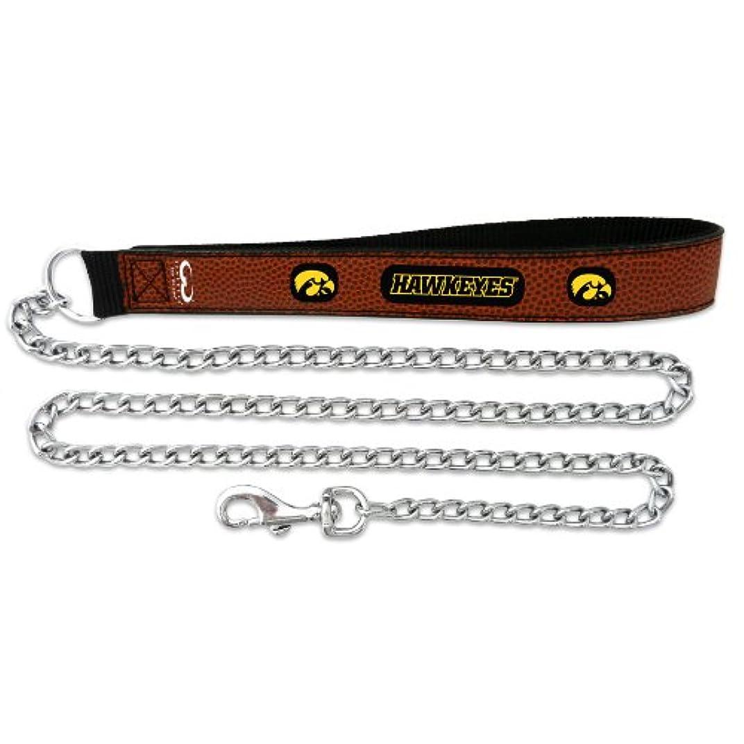 クラブどちらも飢えたIowa Hawkeyes Football Leather 2.5mm Chain Leash - M