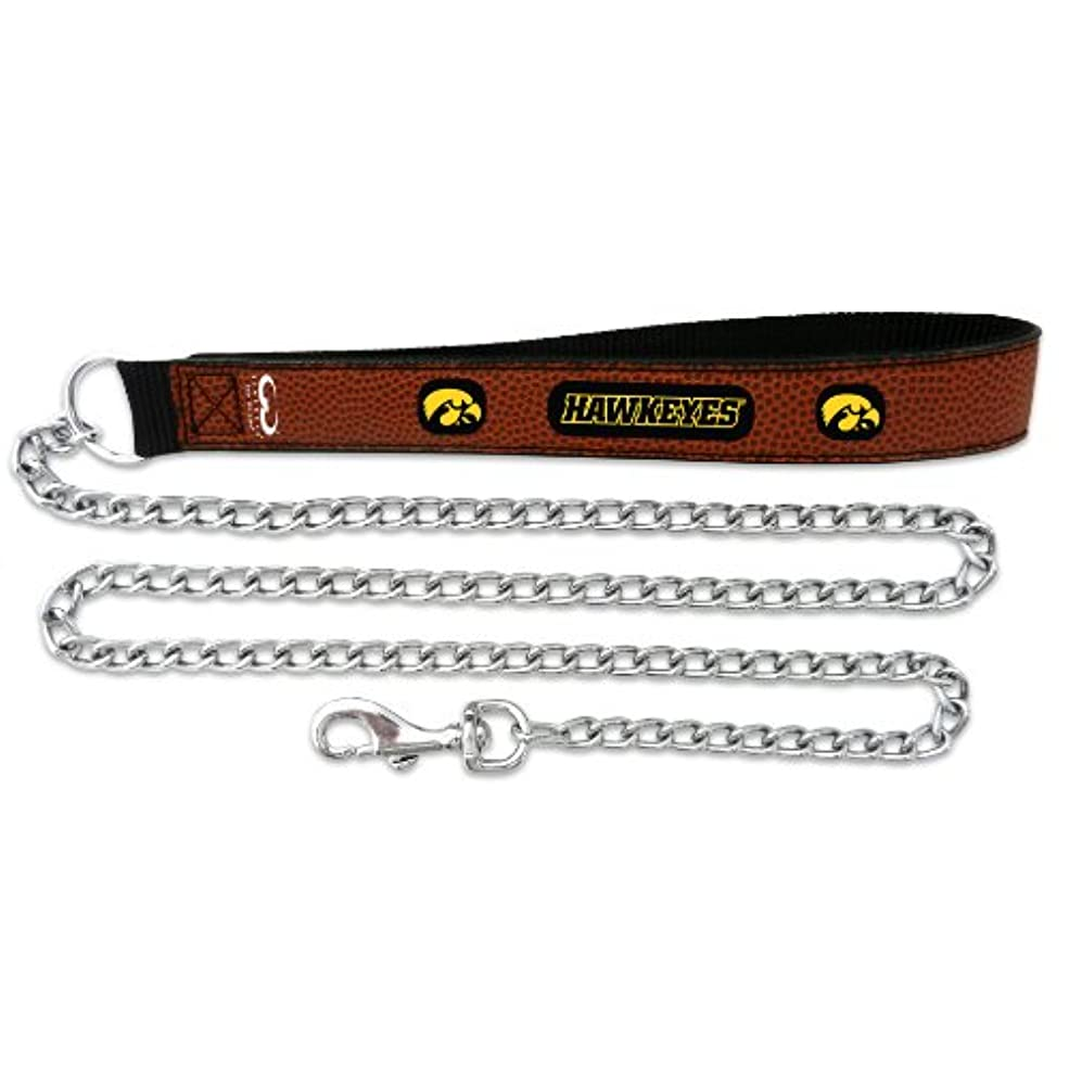 不定行方不明社交的Iowa Hawkeyes Football Leather 2.5mm Chain Leash - M