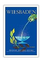 ヴィースバーデン - 古代の温泉街 - ビンテージ旅行ポスター によって作成された ラッティ・ウェルナー c.1960s - アートポスター - 76cm x 112cm