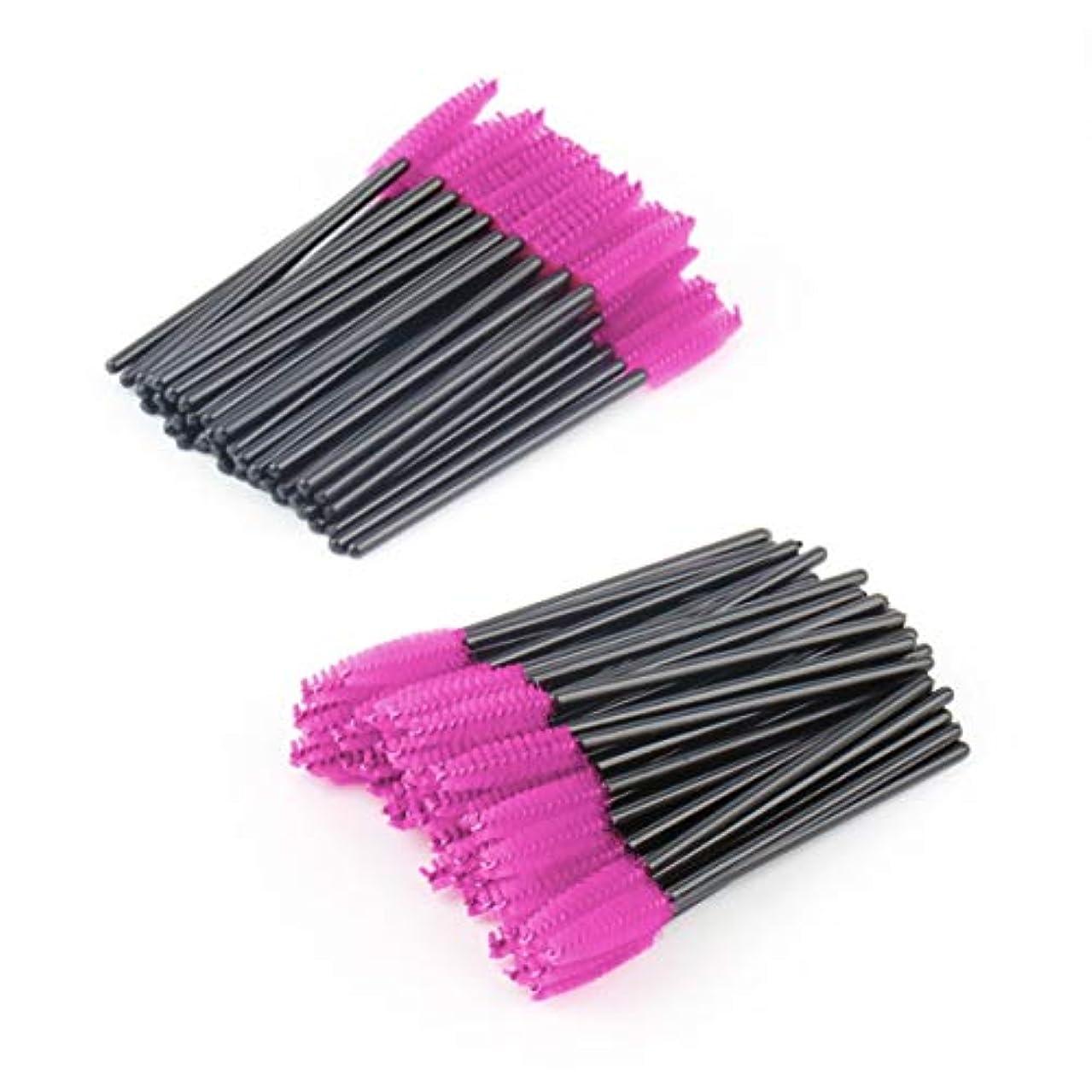 定期的な毒粘り強い100ピースメイクアップブラシピンク合成繊維使い捨てまつげブラシマスカラアプリケーターワンドブラシ化粧品メイクアップツール美容-黒赤