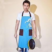 FJH シェフエプロン男性用キッチン防汚エプロンクリエイティブレストランワーク服 エプロン (Color : Blue)