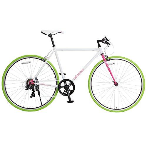 DOPPELGANGER クロスバイク 700×23C シマノ7段変速 [ラピッドファイヤー ] 前輪クイックリリース 前後キャリパーブレーキ ホワイト×ピンク AMADEUS 401S-700C