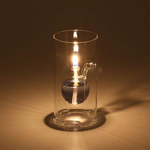 【ガラス替芯つき】ガラスキャンドル オイルランプ クールフローティングボトル【S】