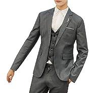YAXINHE メンズビジネスウェディング様々な色クラシックジャケットベスト&パンツ Dark Grey XL