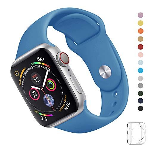 WFEAGL コンパチブル iWatch アップルウォッチ バンド アップルウォッチバンド スポーツバンド 交換ベルト 柔らかいシリコン素材 耐衝撃 防汗 apple watch series 4/3/2/1に対応 (38mm 40mm(M-L), スチールブルー)