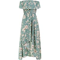 Women's Floral Print Off Shoulder Ruched Casual Irregular Hem Ruffle Dress