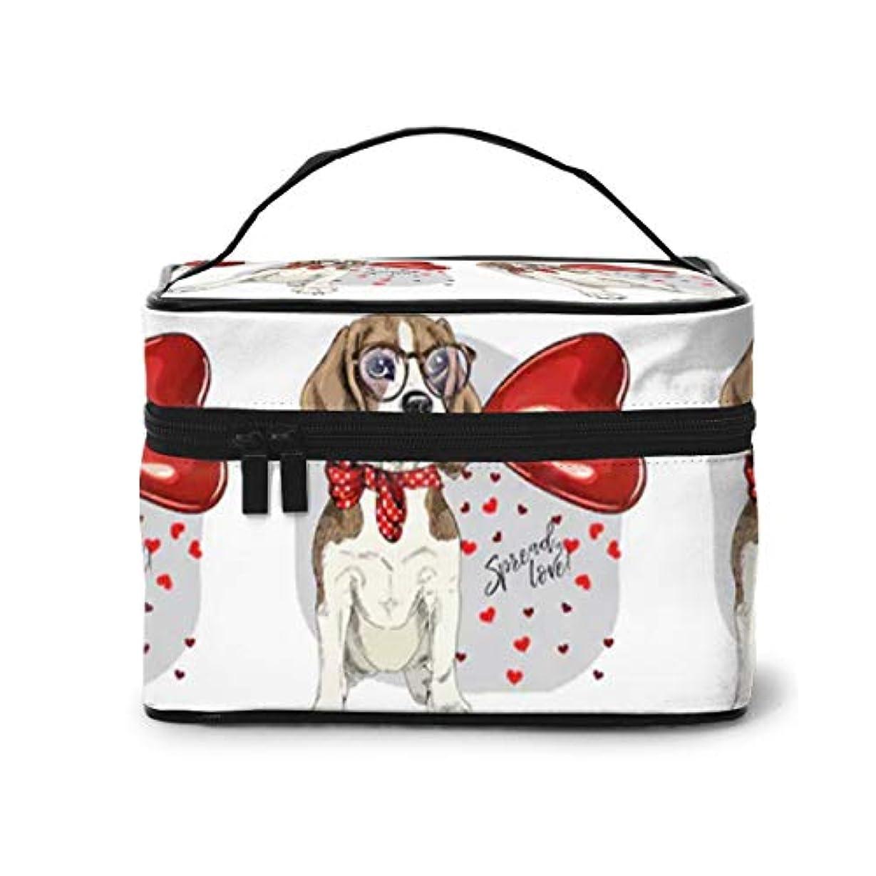 スキームストライク美容師Sharing Life ビーグル 犬 ラブ メイクボックス 化粧ポーチ メイクブラシバッグ トラベルポーチ 化粧品収納ケース 機能的 大容量 かわいい 小物整理 収納