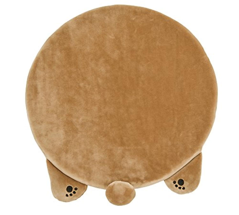 りぶはあと ねむねむアニマルズリラックス チェアクッション  ベージュ(クマ) 35x36cm 38654-13