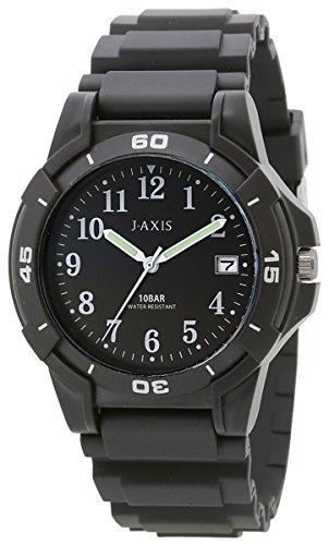 [ジェイアクシス]J-AXIS 腕時計 10気圧防水 日付表示 見やすい文字盤 軽い NAG50-BK メンズ