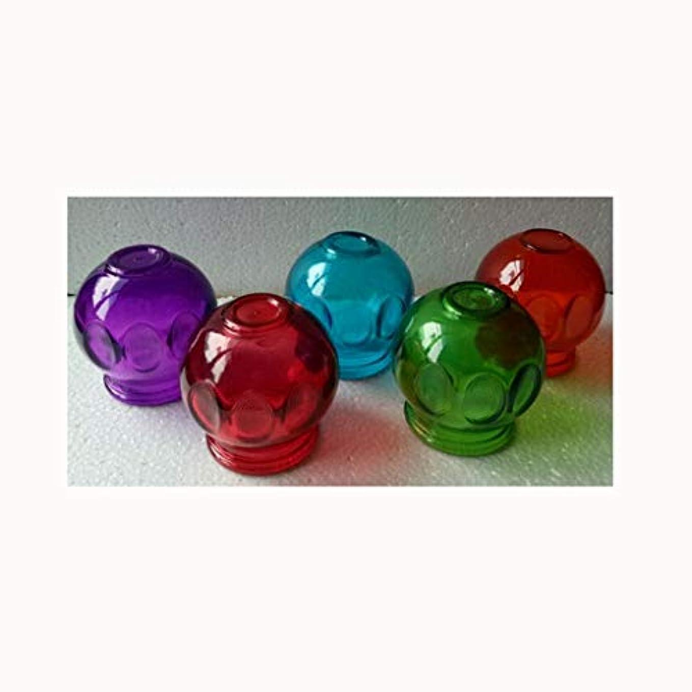 作曲するゆり不足5pcs伝統的な中国の手作り5色のガラスのカッピングは、火のカッピングを設定する