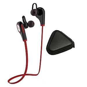 Meily Bluetooth 4.1 ワイヤレスイヤホン スポーツヘッドセット マイク内蔵 ハンズフリー 通話 ノイズキャンセリング搭載 (ブラック+レッド)