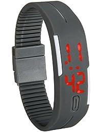 Lancardo 腕時計 子供 防水 スポーツウォッチ デジタル キッズ 腕時計 シリコンパッド調節可能 電子 アラーム カレンダー 12/24時刻切替え グレー