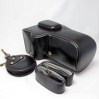 【ノーブランド】 Nikon D7500 専用 オープナブルタイプ ボディケース+レンズカバー(18-140mm対応)+ショルダーストラップ+レンズキャップポーチ+液晶クロス (ブラック)
