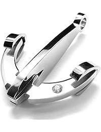 MFYS Jewelry ファッション アクセサリー 青い 錨 アンカー 航海風 海軍 ネックレス (チェーン付) ペンダント ネックレス【ジュエリーBOX付】 (シルバー)
