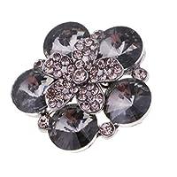 perfk クリスタル ラインストーン 合金 シャンク ボタン 花 3.4×3.4cm デコレーション 全2色 - グレー・ブラック