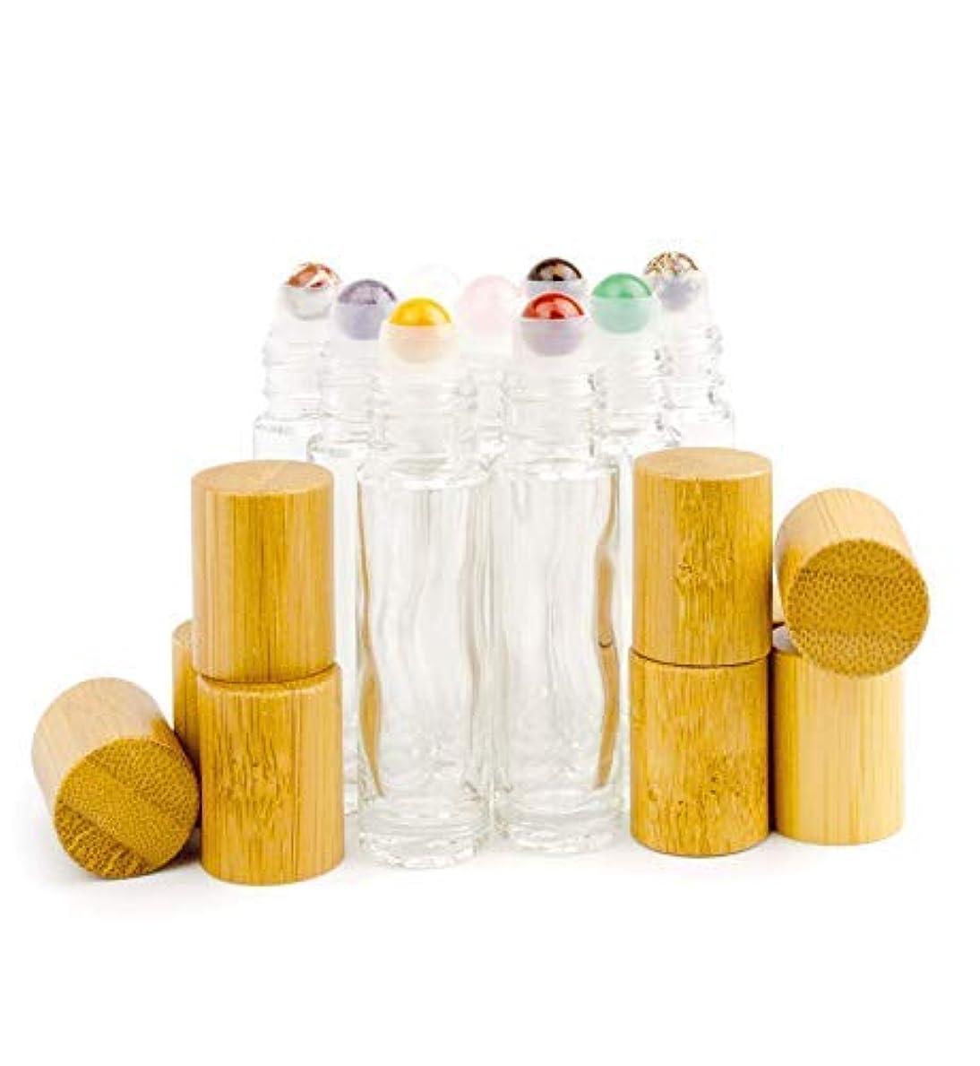 同級生好意瞑想Grand Parfums 9 Gemstone Crystal Roller Tops in 10ml Clear Glass Bottles, with Natural Bamboo Caps for Essential...