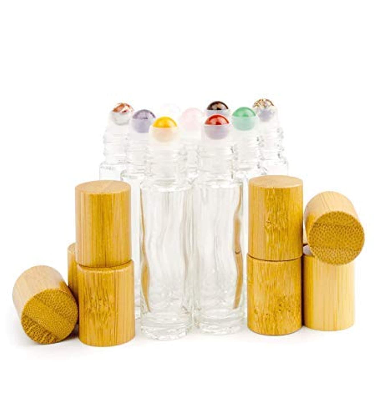 先行するスコットランド人苦しみGrand Parfums 9 Gemstone Crystal Roller Tops in 10ml Clear Glass Bottles, with Natural Bamboo Caps for Essential...