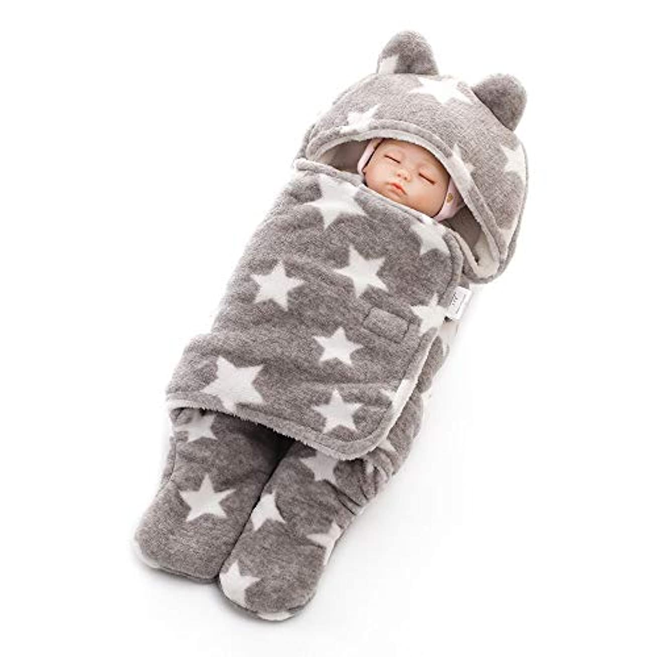 トーン機知に富んだ収まるベビー寝袋 調節可能なベビーつつく毛布ソフトマイクロ豪華なベルベットのローブの袋の赤ちゃん寝袋は旅行のためのユニセックス大きな毛布を着用 新生児睡眠カプセル (色 : グレー, サイズ : 78X86cm)