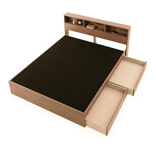 LOWYA (ロウヤ) ベッド ベッドフレーム単品 左右付替え可能キャスター付き引出し コンセント付 リアル木目 ライト付 ヘッドボード ダブル ナチュラル おしゃれ