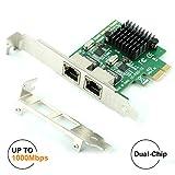 Ubit RJ45 x 2ギガビットLAN、ギガビットイーサネットPCI Express PCI-Eネットワークコントローラカード、10/100 / 1000mbps、デュアルポートPCIEサーバネットワークインタフェースカード、デスクトップPC用LANアダプタコンバータ(8102_T2)