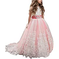 WDE Princess Lilac Long Girls Pageant Dresses Kids Prom Puffy Tulle Ball Gown