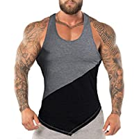 URRU Mens Workout Tank Tops Sleeveless Training Shirts Gym Bodybuilding Muscle T Shirts