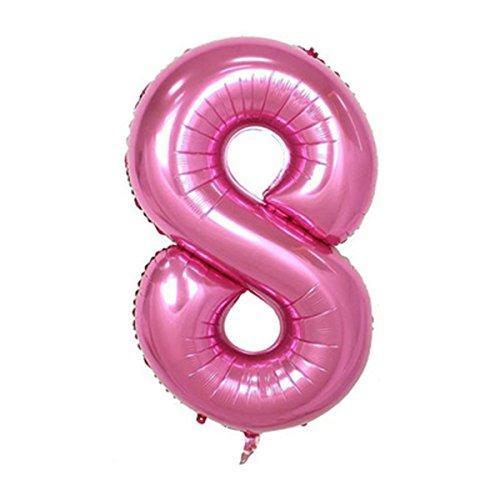 iixpin 40インチピンクヘリウムバルーン番号0–9( zero-nine )クリスマス結婚式誕生日パーティーデコレーション One size 9C-120