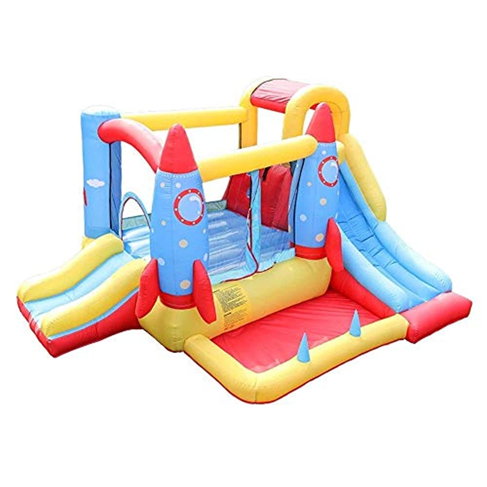 ピクニック静けさもつれブロワートランポリンハウス障害子供屋外ジャンプ城付きの耐久性のあるキャッスルハウスキッズパーティー用の子供の遊び場用スライド付き