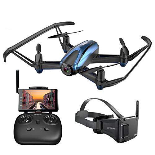 Potensic ドローン VRゴーグル&液晶モニター付き 120°広角カメラ iPhone&Android生中継可能 2.4GHz 4CH マルチコプター クアッドコプター 高度維持 飛行ルート設定 日本国内認証済み (ブルー)