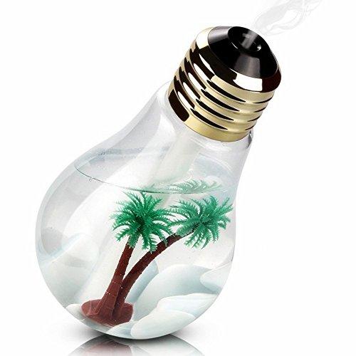 加湿器 卓上加湿器 USB 超音波式 大容量 400ml 加湿器 ペットボトル 電球型 LED搭載7色変換 静か 花粉症 花粉対策に 乾燥防止 空焚き防止 オフィス用 会社 家庭用