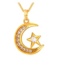 Muslim Crescent Gold Color Cubic Zirconia CZ Islam Moon Star Pendant Necklace [並行輸入品]