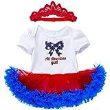[ポクトロン] ベビー 独立記念日 赤ちゃん 半袖 星 レター プリント カラー糸 ロンパース ドレス+ヘアバンド スーツ 2点セット