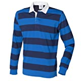 (フロント・ロウ) Front Row メンズ ストライプ 長袖ポロシャツ ラガーシャツ トップス カットソー 男性用 (2XL) (ブルー/ネイビー)