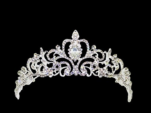 結婚式 ウェディング アクセサリー ティアラ 王冠 パール ラインストーン 花嫁 パーティー ブライダル シルバー (プリンセス)