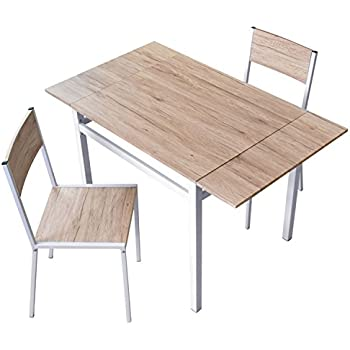 DORIS ダイニングテーブル 2人用 ダイニングセット 3点セット 伸長式 幅80~120 2人掛け フレイヤ ナチュラル