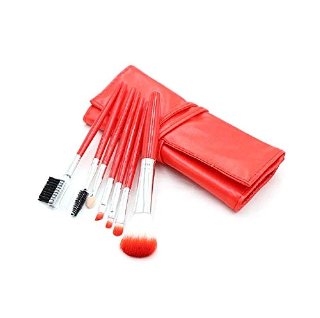 パニック進む実行する化粧ブラシセット、赤7化粧ブラシ化粧ブラシセットアイシャドウブラシリップブラシ美容化粧道具