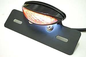 汎用 LED スリム キャッツアイ テール ランプ 【ADVANTAGE】 ライト カスタム バイク (1、ブラック/クリアレンズ)
