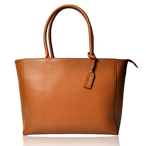 [Dom Teporna] トートバッグ メンズ チャック 無地 かばん 鞄 大容量 ビジネス バッグ 持ち手 レザー 軽量 収納 シンプル ショルダー ファスナー (brown2)
