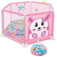 ポータブルベビーサークル軽量メッシュベビーベビーサークル室内アウトドア折り畳み式の子供の遊び場 (サイズ さいず : Pink)