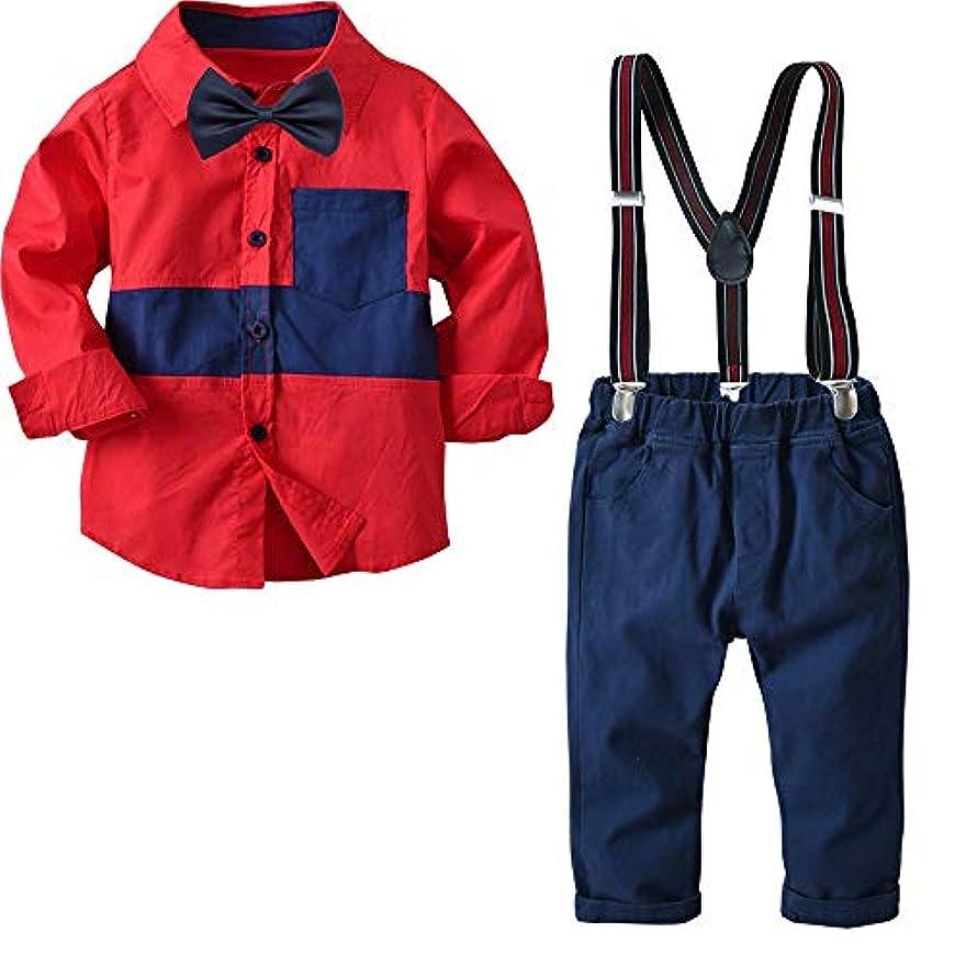 どんよりしたスラムアトミックベイビーボーイ衣装セット 幼児の男の子の服のセット弓のタイのシャツのサスペンダーパンツ男の子の紳士の服(2-8年) 可愛い (サイズ : 140)