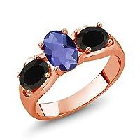 Gem Stone King 1.43カラット 天然 アイオライト (ブルー) 天然 オニキス シルバー925 ピンクゴールドコーティング 指輪 リング