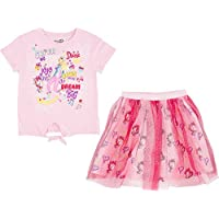 JoJo Siwa Girls Tie Front Sequin Graphic Tee and Glitter Unicorn Tutu Skirt, 2-Piece Outfit Set, Sizes 4-16